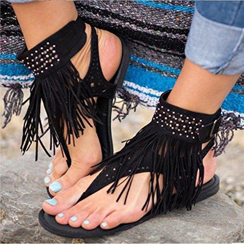 Toe Eleganti Nappa Sandali Strass Scarpe Tacco Basso Decor Minetom Nero Donna Peep Shoes Infradito Estivi Boemia 7twdWHzqx