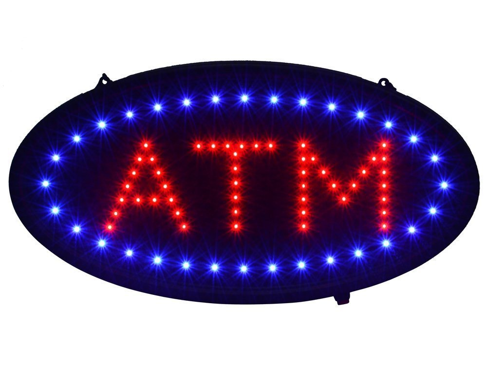 TMS 19''x10'' Ultra Bright LED Neon Light Animated Motion ON/OFF ATM Machine Open Sign