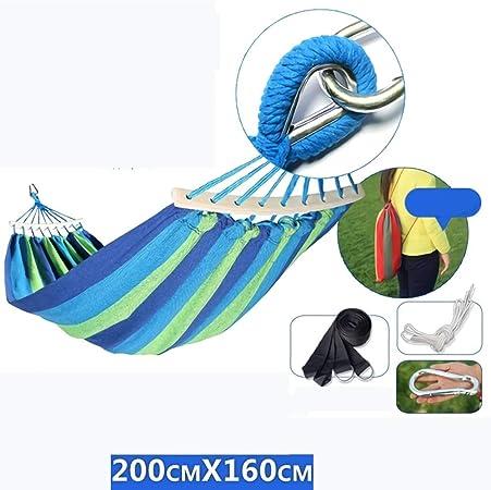 GW Hamacas Colgantes Jardin Exterior Algodon Lona Hamaca Portátil al Aire Libre Acampada Viaje para una Persona Carga de 200 kg Colorido,Azul,L: Amazon.es: Hogar