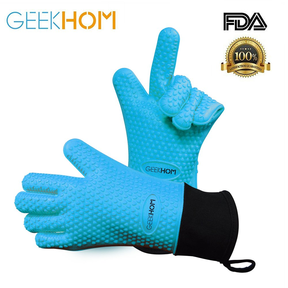 GEEKHOM Grilling Gloves, Heat Resistant Gloves BBQ Kitchen Silicone Oven Mitts, Long Waterproof Non-Slip Potholder for Barbecue, Cooking, Baking (Blue) by GEEKHOM