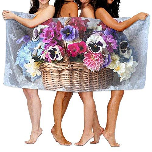 Basket Colorful Flowers Unisex Bath Towel Wrap - Microfiber Outdoor Beach Towels - Dormitory Bathroom Hotel Shower Spa Bath Towels For Women & Men