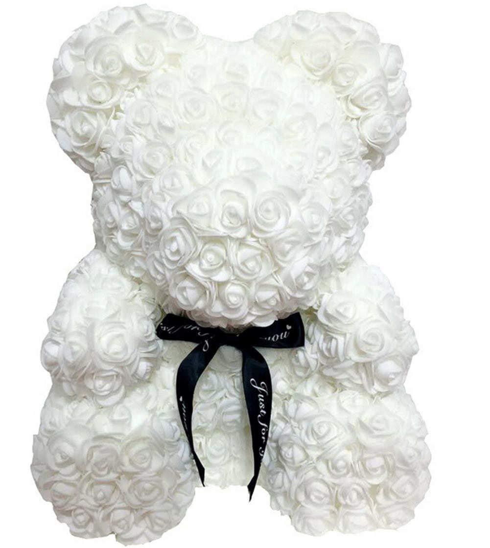 "silk flower arrangements tobabyfat 16"" teddy bear rose toy forever artificial rose love romantic rose everlasting flower for anniversary christmas valentines birthday gift (16 inch, white)"