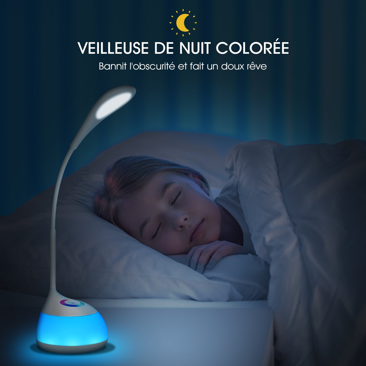 Atmosph/ère 3 Niveaux de Luminosit/é 【2 en 1】 TOPELEK Lampe de Bureau 16 LED Veilleuse Enfant Tactile RGB 256 Couleurs R/églables Lampe de Chevet et Cadeau Enfant pour Chambre de B/éb/é Cou Flexible