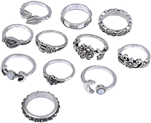Ximandi 13pcs//Set Women Bohemian Vintage Silver Stack Rings Above Knuckle Blue Rings Set Womens Girls Luruxy Rings