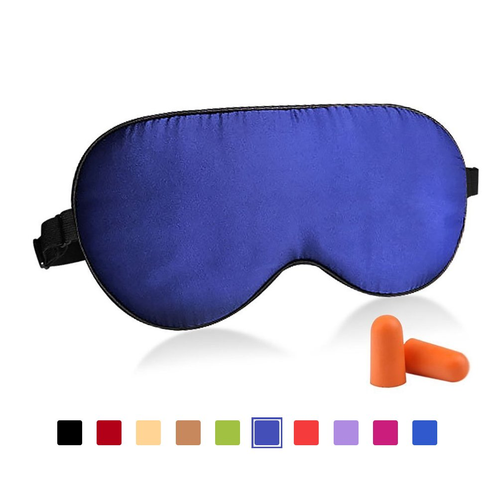 Fitglam Natural Silk Sleep Mask, Best Sleeping Eye Cover for Travel, Nap, Meditation, Blindfold with Adjustable Strap for Men, Women or Kids (Navy Blue) by fitglam   B01DEX84MK
