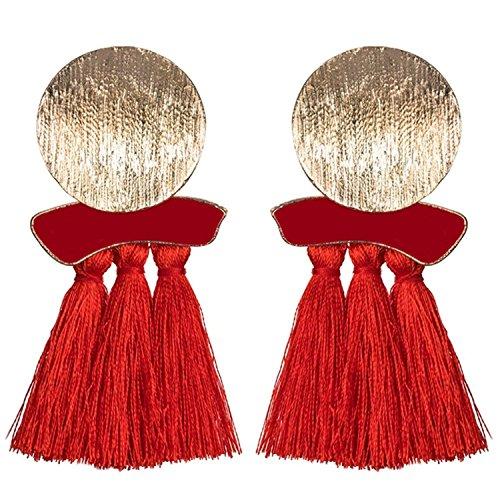 Rising ON Fashion Statement Tassel Drop Earrings For Women Wedding Bohemian 6 Colors Fringed Hot Sale Dangle Earring,Red -
