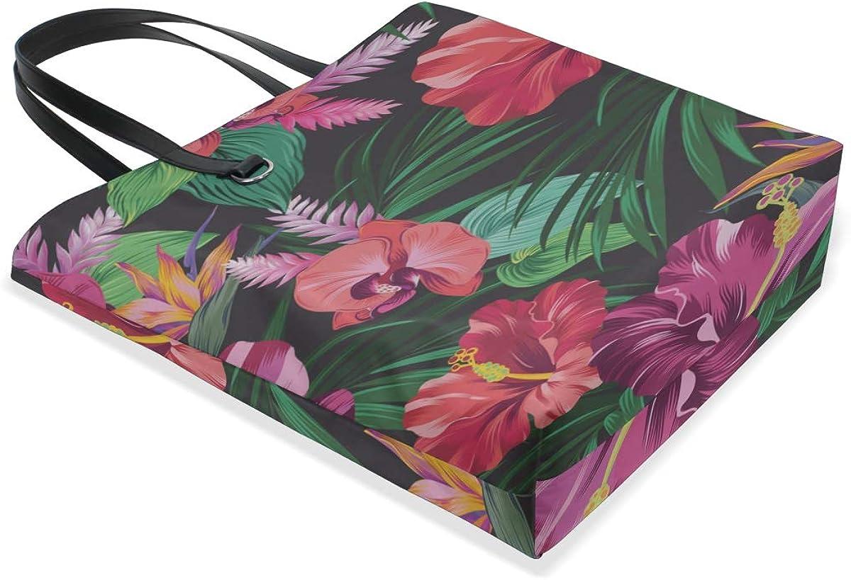 Medium Handbags Handle Satchel Tote Bags For Kids Purse Messenger Bags Zip Tote Bag Retro Colorful Beautiful Flower Hibiscus Printing Cute Shoulder Bag