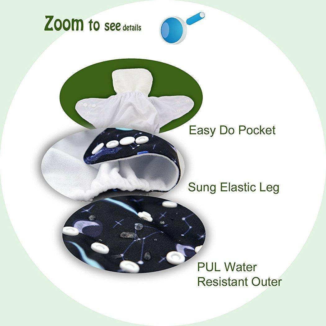 Alva Baby-6pcs Paket Taschen justierbare mehrfachverwendbare Tuch-Windel mit 2 Eins/ätze pro St/ück Neutral 6DM10