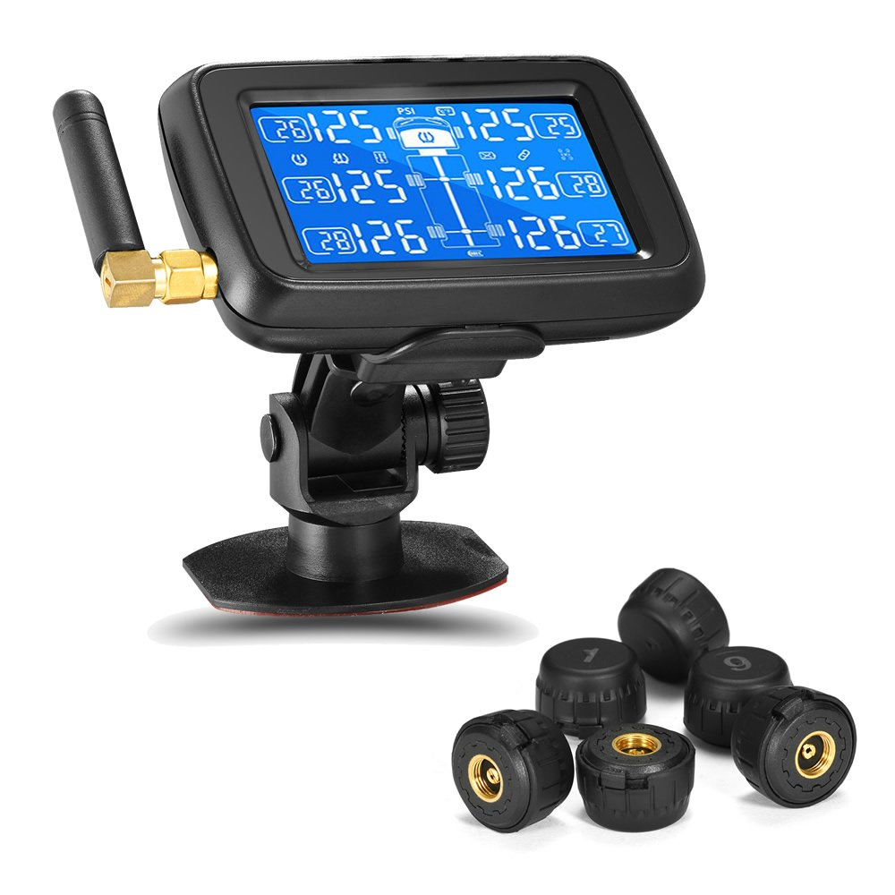 Careud RV TPMS Tire Pressure Monitoring System Wireless RV Truck Bus Trailer Real Time Monitoring Tires Pressure & Temperature w/Rechargeable Large LCD Display and 6 THEFT PROOF Cap Sensors(U901T) by Careud