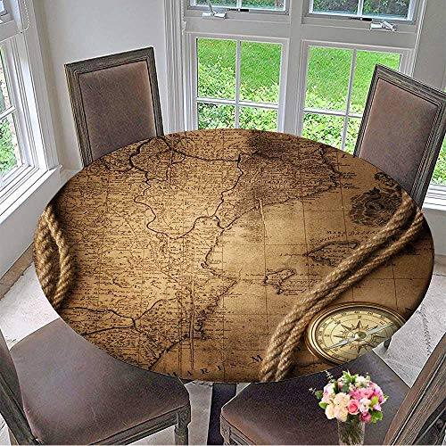 Spider 3 Placemat Man (Mikihome Simple Modern Round Table Cloth Old Compass and Rope on Vintage map for Daily use, Wedding, Restaurant 50