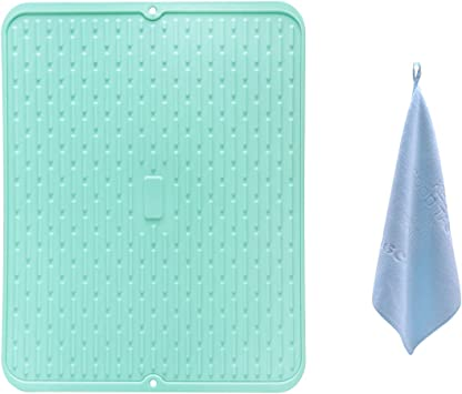 Heat Resistant Non Slip Eco-Friendly Dishwasher Safe Countertop Trivet Aschef 2 Pack Silicone Dish Drying Mat 17 X 13 Dish Drainers Dryer Draining Compact Storage Pad for Kitchen Counter Sink