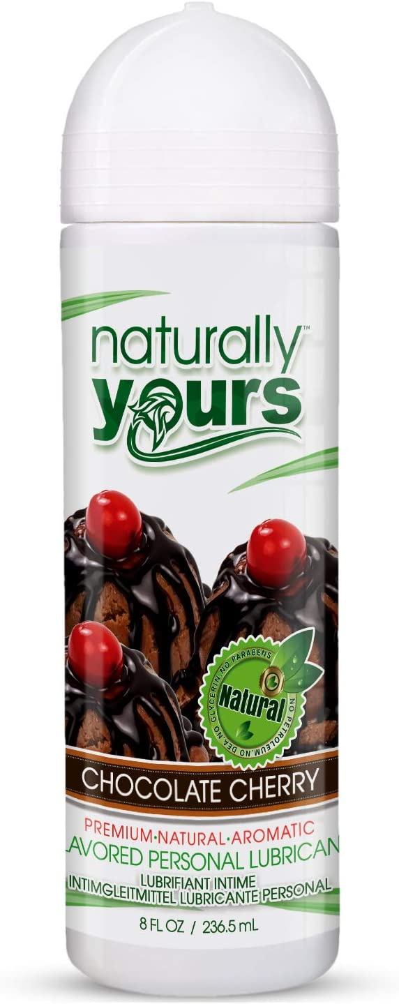 Naturally Yours - Chocolate Cherry Flavored, Natural Personal Lubricant 8 oz - for Couples, Women & Men