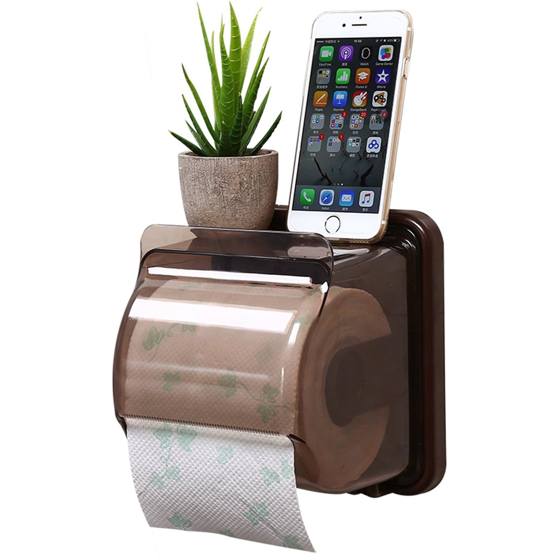 Waterproof Cat Proof Toilet Paper Holder Self Adhesive Mount with Storage Shelf Paper Roll Holder Tissue Box Paper Holder