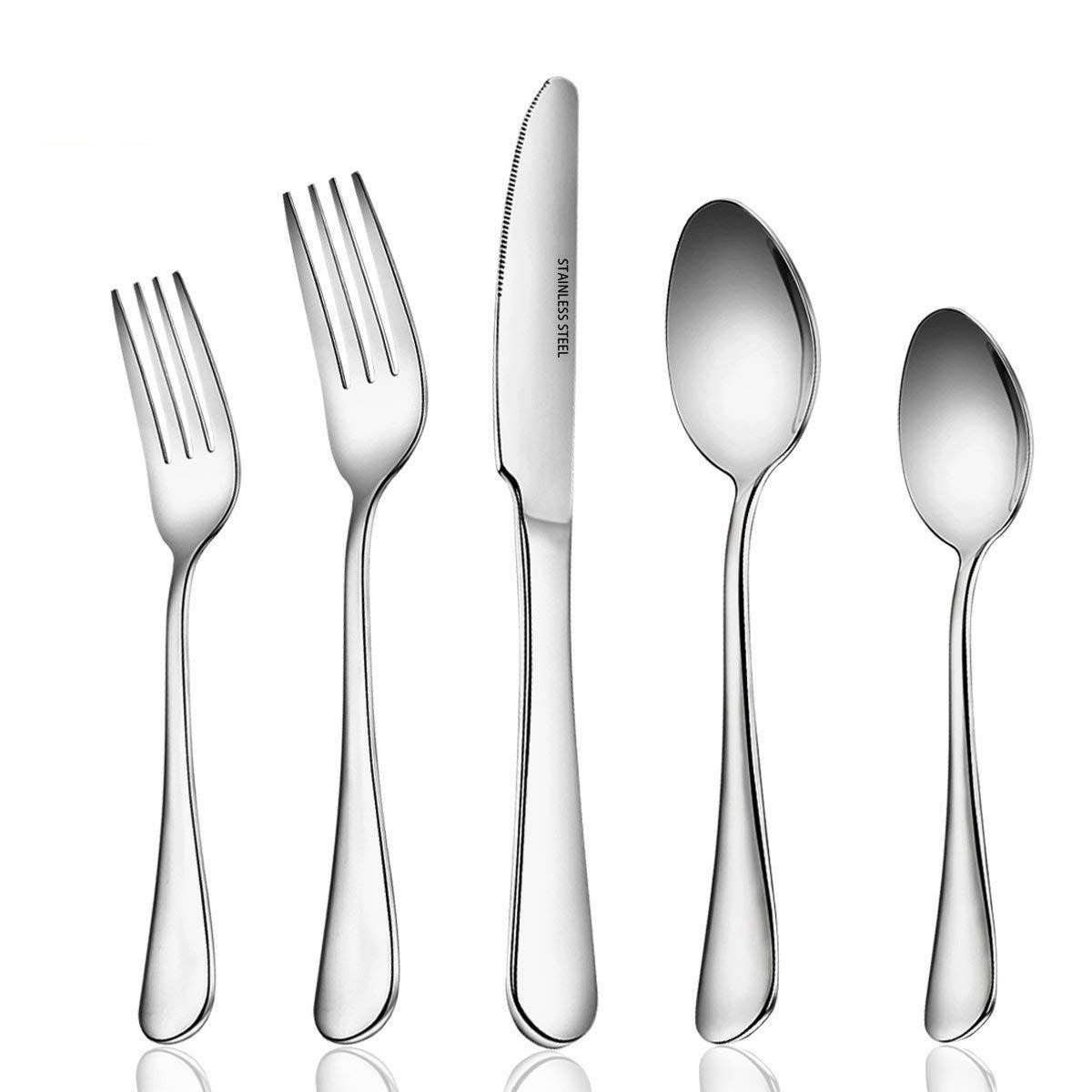 Umite Chef 20 Piece Fine Flatware Set, Cutlery Sets Stainless Steel Mirror Polished with Dinner Knives, Forks and Spoons for Dessert & Dinner, Modern Eating (Umiten5O2)