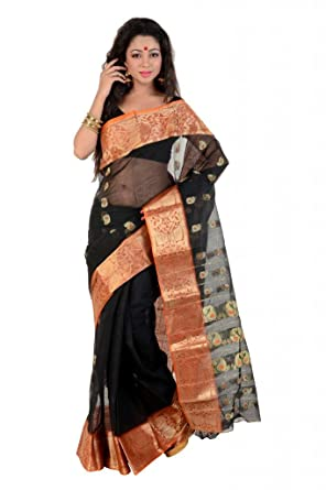 89a33ff406d92e Black Traditional Bengali Banarasi style Tant saree with elegant orange  border with zari weaved motifs in ...