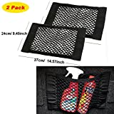 KOBWA Car Trunk Velcro Storage Net, Mesh Wall Sticker Organizer Pouch Bag for Bottles/ Groceries/ Cargo (Pack of 2)