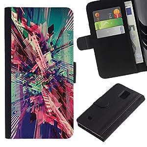 Planetar® Modelo colorido cuero carpeta tirón caso cubierta piel Holster Funda protección Para Samsung Galaxy Note 4 IV / SM-N910 ( Teal 3D Abstract Lines Purple )