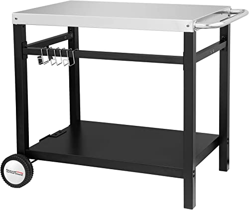 Royal Gourmet Double-Shelf Movable Dining Cart Table