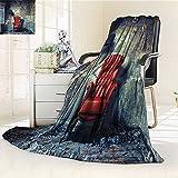 YOYI-HOME Lightweight Summer Duplex Printed Blanket,Luxury Armchair Floor Lamp in Grunge Interior Damaged