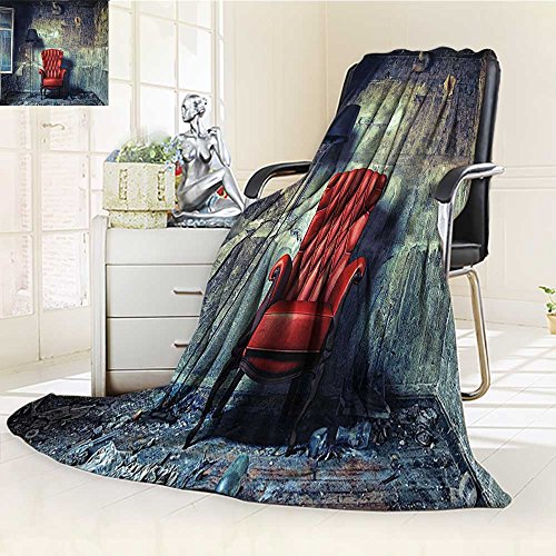 (YOYI-HOME Twin Size Bed Duplex Printed Blanket s Super Soft Luxury Armchair Floor Lamp in Grunge Interior Damaged Messy Abandoned House Windows Fleece Blanket for Bed or Couch/W59 x H47)