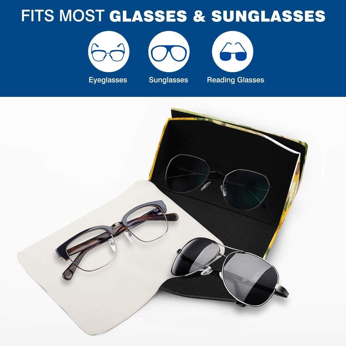 InterestPrint Sunflower Foldable Glasses Case Eyeglass Cases Sunglasss Boxes for Men Women