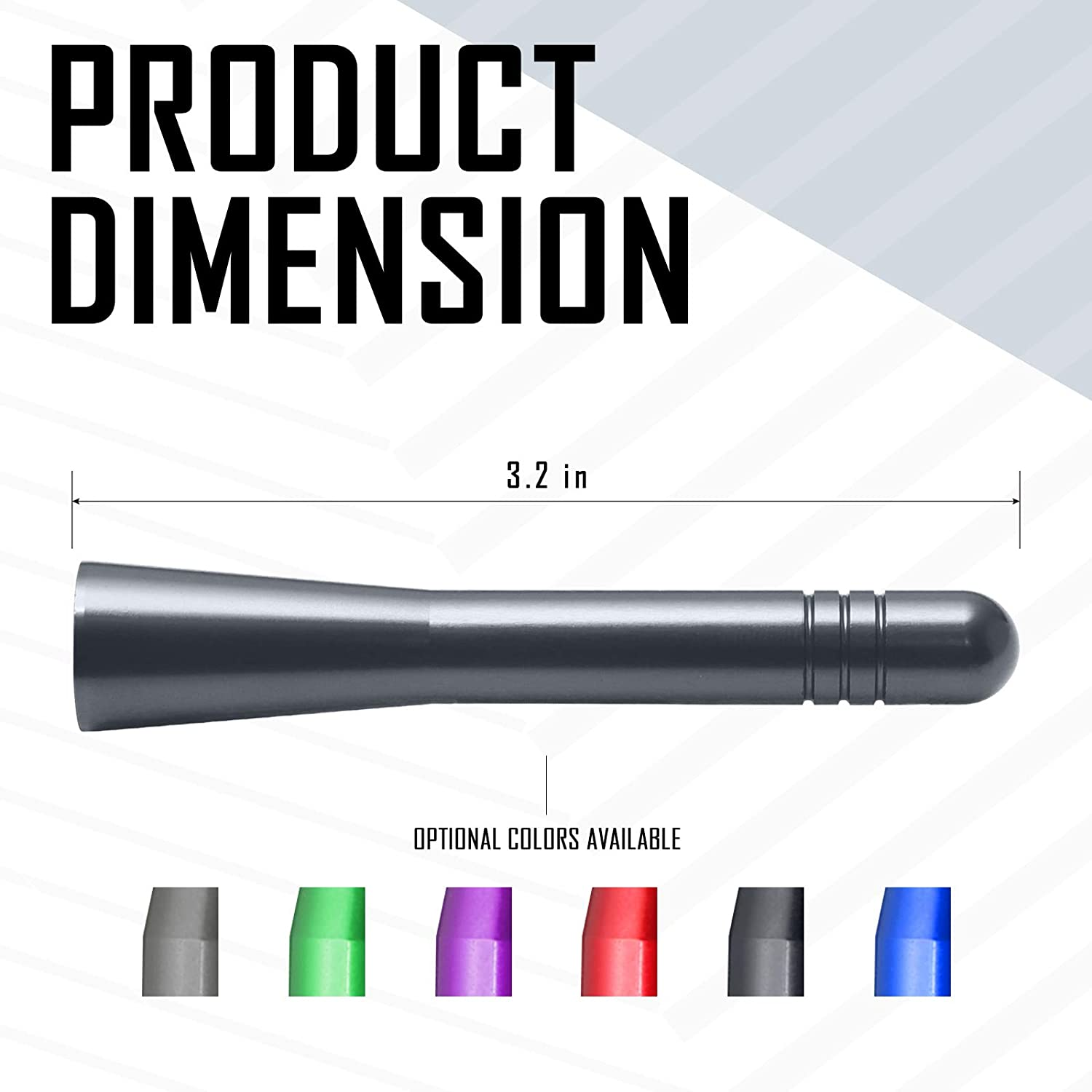 Carbon/Black 3.2 Inches Optimized AM//FM Reception with Tough Material Elitezip Antenna Compatible with Ford Fiesta 2008-2018