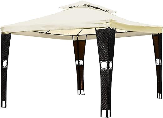 Bakaji cenador de jardín 3 x 3 mt estructura de acero inoxidable con postes de mimbre de ratán sintético toalla cubierta de tela antiviento color beige decoración jardín terraza habitaciones exteriores: Amazon.es:
