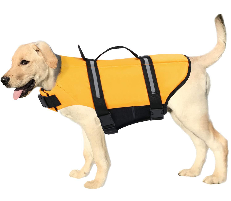 SAWMONG Dog Life Jacket Ripstop Adjustable Safety Pet Life Preserver Pet Flotation Life Vest for Small Medium Large Dogs(Yellow, M)