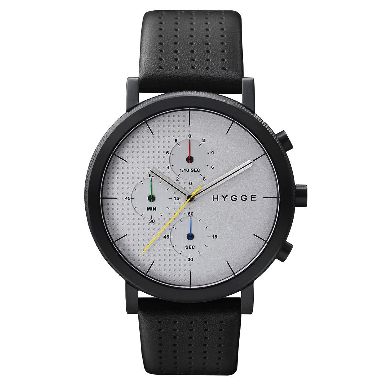 Hygge Unisex-Armbanduhr 2204 Chronograph Leder Schwarz MSL2204BC(CH)