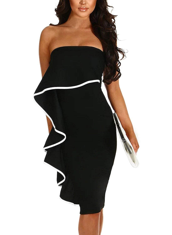 Black KKJim Women's Elegant Frill Strapless Detail Bodycon Midi Party Dress SXL