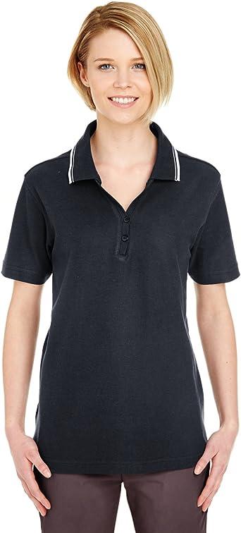 Amazon.com: UltraClub Ladies' Tipped Collar Whisper Piqué Polo ...