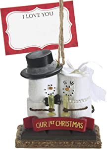 Ganz U.S.A., LLC S'Mores Marshmallows Our 1st Christmas Snowman Ornaments Toasting Champagne Holiday Christmas Tree Decor Gifts Decorations with I Love You Card Presented in a White Gift Box