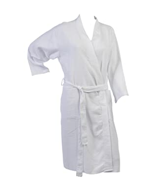 31ae4b0866 Ladies Lightweight Waffle Textured Dressing Gown 100% Cotton Long Sleeved  Wrap Bath Robe (XL)  Amazon.co.uk  Clothing