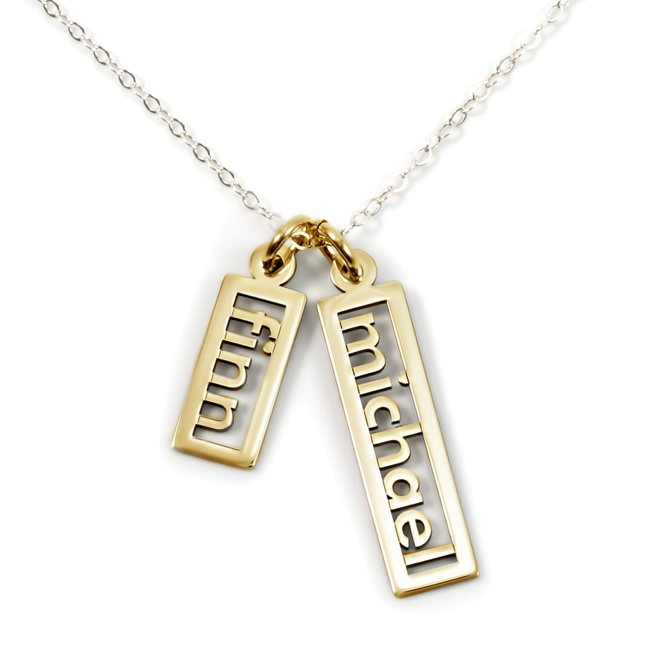 AJ's Collection Personalized Necklace Open Double Sterling Silver or 14k Gold Plate over Sterling Silver (20) by AJ's Collection (Image #2)