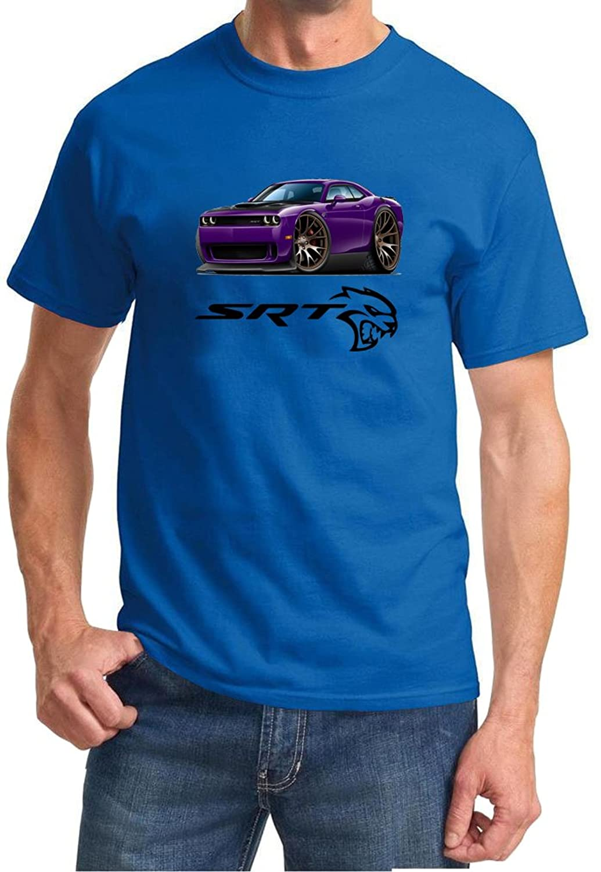 Dodge Challenger Hellcat Purple Muscle Car-toon Tshirt 2XL royal