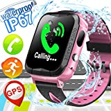 Waterproof Kid Smart Watch Phone - Kids GPS Tracker Watch for Girls Boys with Cell Phone SOS Anti-lost Camera Game Outdoor Swim Digital Wrist Watch Sport Fitness Tracker for Summer, Pink
