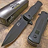 Master Carbon Fiber Drop Point Spring Assisted Opening Tactical Pocket Knife NEW