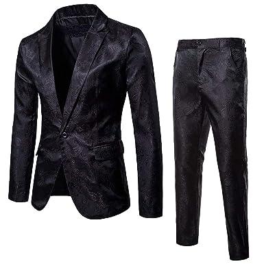 Logobeing Chaqueta y Pantalón de Traje de Hombre Blazer - Traje de 2 Piezas- Chaqueta de Fiesta de Bodas de Negocios Chaquetas de Traje Americana Hombre: ...