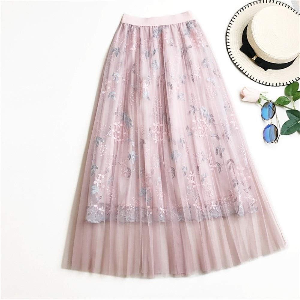 Huisongda Faldas de Tul for Mujer Bordado Floral Cintura Alta ...