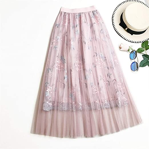 PAIOUPAIOU Faldas de Tul for Mujer Bordado Floral Cintura Alta ...
