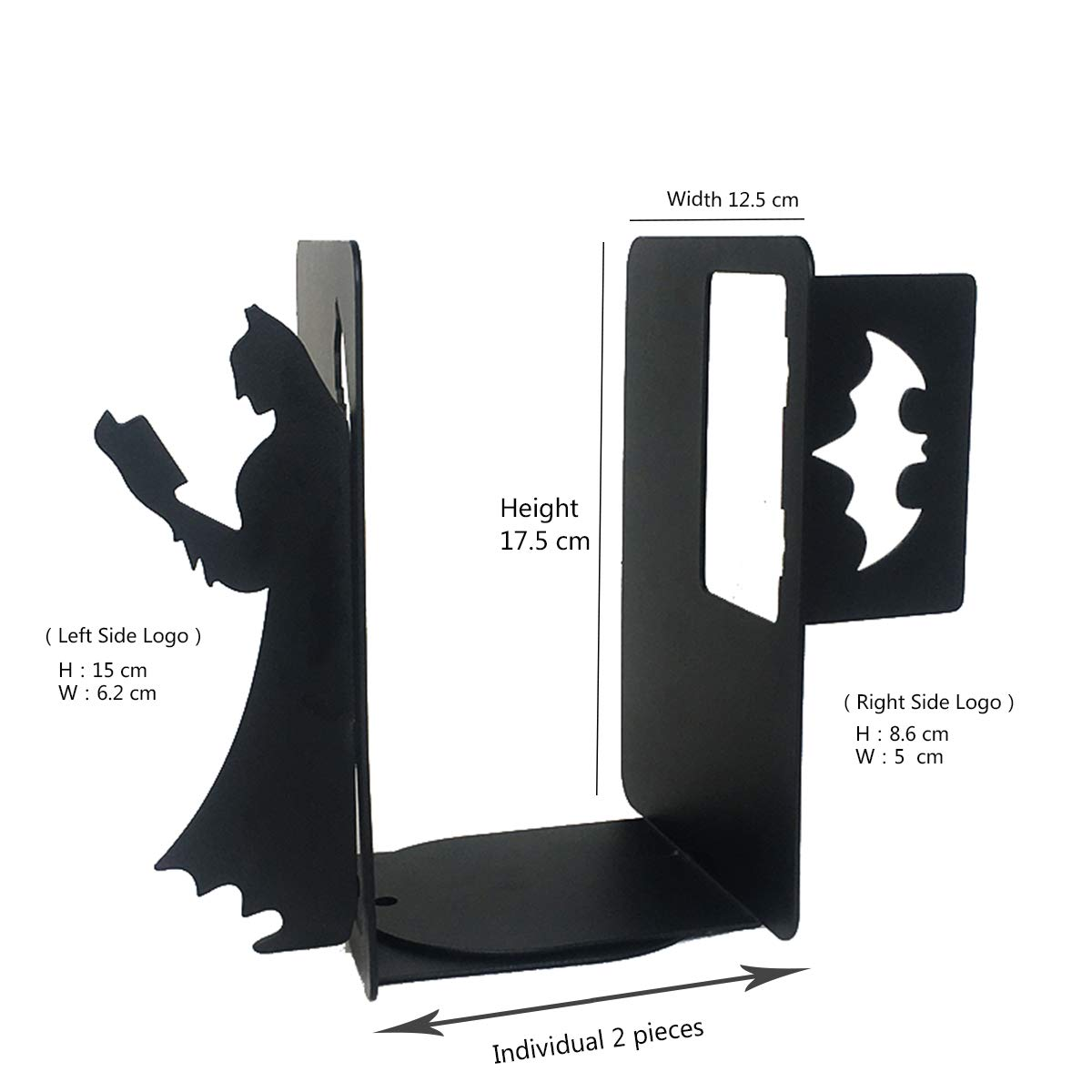 PandS Black Batman Bookends | Unique Bookends | Metal Decorative Book Ends | Gifts for Book Lovers | Gift for the Super Hero in Your Life | Heavy Duty and Creative Bookends | Bookends for Heavy Books