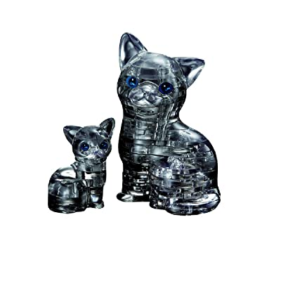 Original 3D Crystal Puzzle - Cat & Kitten Black: Toys & Games