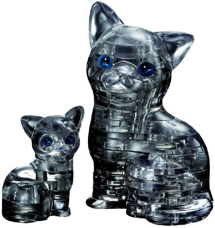 Original 3D Crystal Puzzle - Cat & Kitten Black