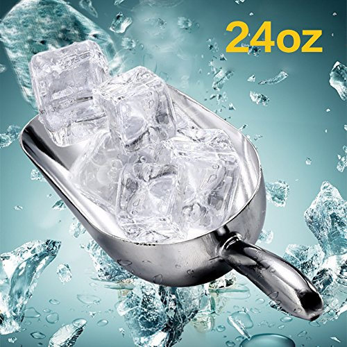 - Multi-Functional Ice Scoop Food Shovel Aluminum Alloy Ice Scraper Food Buffet Candy Shovel Bar Tool Ice Scoops 24oz