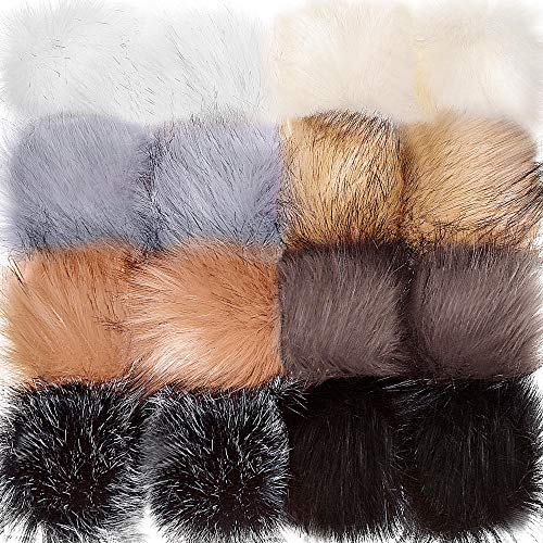 Tatuo Faux Fur Pom Pom Ball DIY Fur Pom Poms for Hats Shoes Scarves Bag Pompoms Keychain Charms Knitting Hat Accessories (Popular Mix Colors, 16) (Black Leather Hat With Fur Ball On Top)