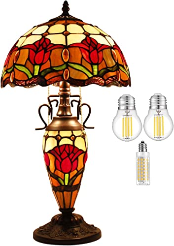 Tiffany Lamp W12H22 Inch 3LED Bulb Inclued Red Stained Glass Tulip Flower Shade Antique Coffee Table Desk Night Light Base S030 WERFACTORY Lover Living Room Bedroom Bar Desk Antique Art Crafts Gift