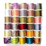 30 SPOOLS - Art Silk Twisted with Lurex - Neem Jari Zari - For Crochet Sewing Embroidery Knitting Jewelry