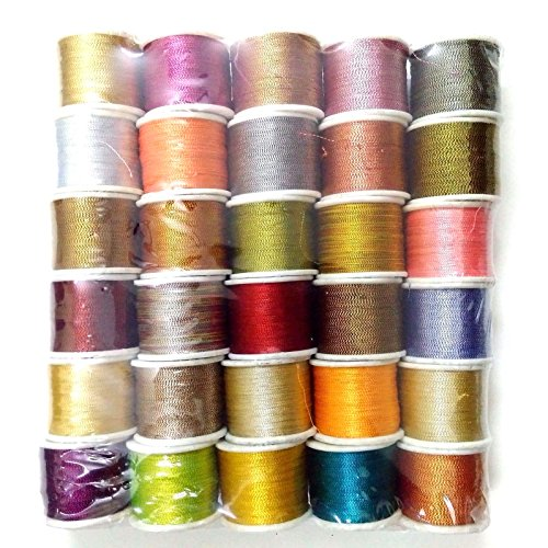 30 SPOOLS - Art Silk Twisted with Lurex - Neem Jari Zari - For Crochet Sewing Embroidery Knitting Jewelry by Desi Hawker