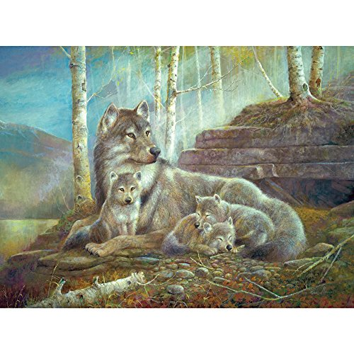 500 Piece Puzzle -Watch Over the Pups - Wolf Puppies