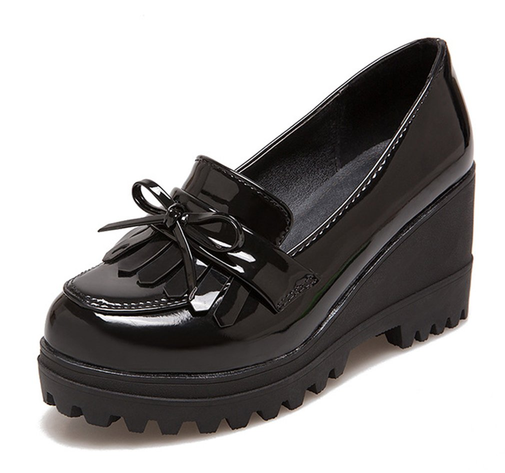 Aisun Women's Stylish Fringed Round Toe Dress Slip On Platform High Heels Wedge Loafers Shoes Bows Black 8 B(M) US